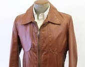 Men's Vintage Style Coats and Jackets 1970s Mens Leather Motorcycle Jacket Vintage Oxblood Genuine Leather Jacket  Coat Made in U.S.A  Size 40 MEDIUM $59.99 AT vintagedancer.com