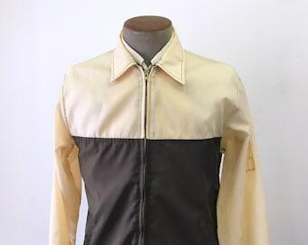 1960s-70s Men's Vintage Beige & Brown Nylon Windbreaker Jacket / Coat by UNITOG - Size MEDIUM