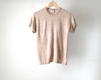 classic BASIC faded mid century OATMEAL heather soft t-shirt top