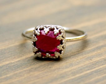 Sterling Silver Ruby Ring // .925 Sterling Silver Rose Cut Ruby Ring  // Rose Cut Lab Created Ruby Engagement Ring // July Birthstone Ring
