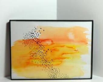 "Flocking Triangles Sunset - Watercolor, Ink & Pencil - 5x7"" Framed Original Artwork"