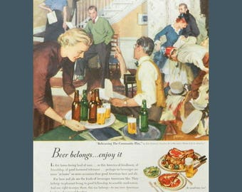 Beer Drinker Wall Art - Vintage Magazine Ad