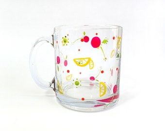 Hand Painted Glass Mug - Summertime - Iridescent, Translucent Lemons, Berries and Accents Painted on a Clear Glass Mug