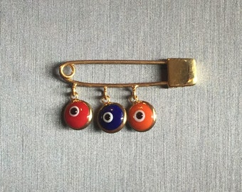 Hye Em Yes-Gold Evil Eye Safety Pin