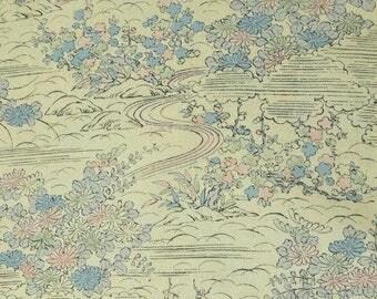 Garden scene Vintage Japanese silk kimono fabric