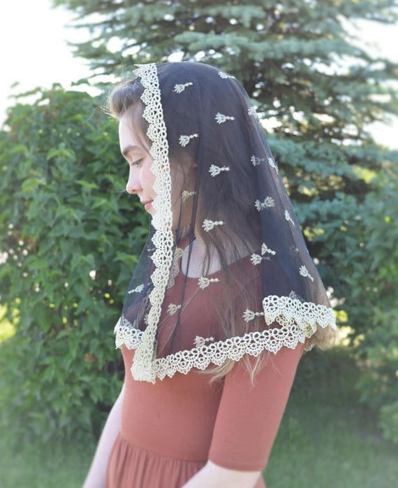 Black with Gold Embroidery Chapel Veil Mantilla | Catholic Chapel Veil Black Veil Gold Veil for Mass Veil Robin Nest Lane Black Mantilla