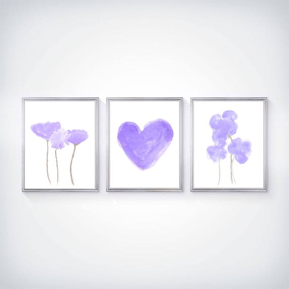 Purple Flower Prints for Girls Room, 8x10-Set of 3