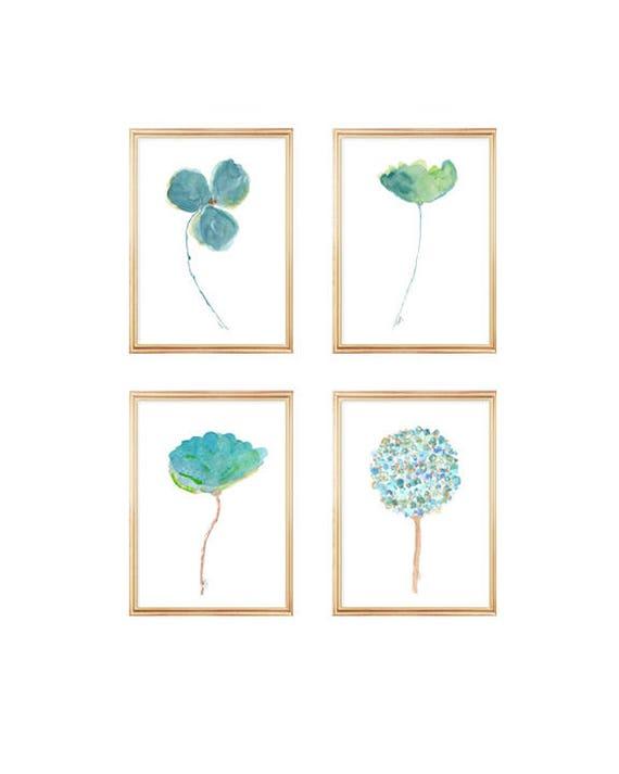 Aqua Watercolor Flowers, 5x7 Set of 4