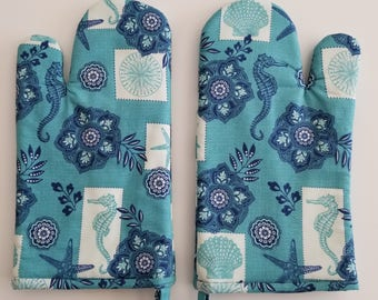 Kitchen Oven Mitt, Seaside, Ocean, Seahorse, starfish, coast, coastal, chef, baker, cook