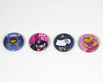 "Undertale Buttons - Frisk / Alphys / Napstablook / Mettaton - 1.25"" Pinback Button Set"