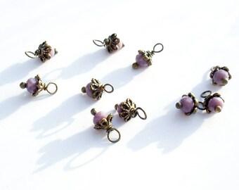 10PC. ANTIQUE MAUVE AB Austrian Crystal Bead Dangle Charm//Delicate 10MM x 6MM handmade Crystal/Antique Bronze Tone Plated Bead Dangle Charm