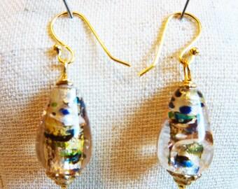 Bronze Gold Silver Foiled Glass Teardrop Earrings