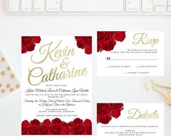 Red Rose Wedding Invitation Suite   Rose Wedding Invitation   Red Rose Wedding   Red Roses   Gold   Red Rose   Rose Wedding