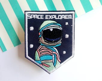 Fabric patch sew on Spaceman Space Astronaut iron on Patchgame