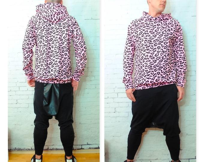 Pink Leopard/Cheetah Print Jersey Hoodie Sweatshirt Supreme dope hiphop dancer vintage