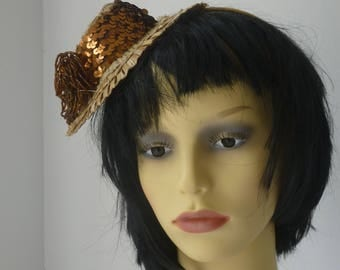 Little Straw Hat  with Copper Sequins sale