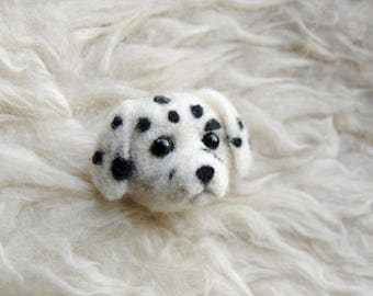 Dalmatian Brooch, Needle Felted Dog Pin, Cute Dalmatian Gift