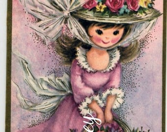 Antique Unused  Get Well Card, Victorian Little Girl Wishing Them Well #406-AW