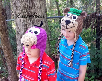 Crochet Bear Yogi hat,Dino hat.Crochet bear hat.