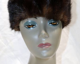 1960s Dark Mink Pillbox Hat  - Good Condition  - Unmarked - Winter Hat