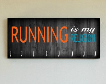 """Race Medal Holder /  Race Medal Hanger. """"Running is My Religion"""" Wood Wall Mounted Wood Organizer. CUSTOMIZATION Available"""