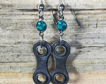 Upcycled Bicycle Chain Earrings with Vintage Swarovski Crystals - bike earrings, bicycle earrings, bicycle accessories