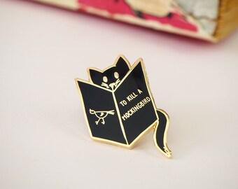 Reading Cat Enamel Book Pin -  Book Enamel Pin Badge - Geek Gift for Book Lover - Reading Enamel Pin  - Cat lover - Cat enamel pin - Bookish