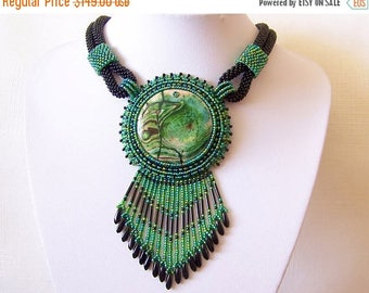15% SALE Statement necklace - Beadwork Bead Embroidery Pendant Necklace with Green Fire Agate - green and black necklace - Big pendant neckl