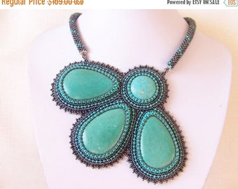 15% SALE Statement Beadwork Bead Embroidery Pendant Necklace with Turquoise - TURQUOISE FLOWER - grey hematite - turquoise