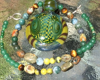 Stone Necklace with Handblown Pendant