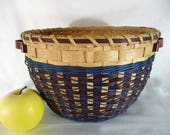 Hand Woven Round Table Basket in Dark Brown and Blue