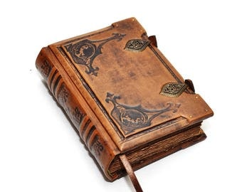 Small leather journal, Order of the Dragon, Medieval style, Book of Dead, Wiccan notebook, Aged paper, Book of spells, necronomicon leather