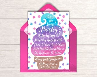 Ice Cream Invitation - Printable Invite - Ice Cream Party - Here's The Scoop - Girls Birthday Party Package - Summer Birthday Idea - BP02