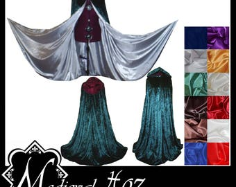 Green Crushed Velvet Cloak lined with a Shimmer Satin of your choice. Ideal for LARP Medieval Costume Wedding Handfasting. Made To Measure.