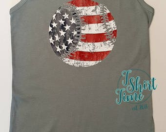 Baseball Shirt - America - America's Pastime - Patriotism - Love Baseball - Sports Shirt - Gift - Ladies Clothing - Plus Size - 4th of July