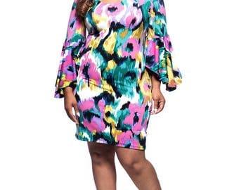 Women's Plus Size Hawaiian Multi Color  Bell Sleeve Dress