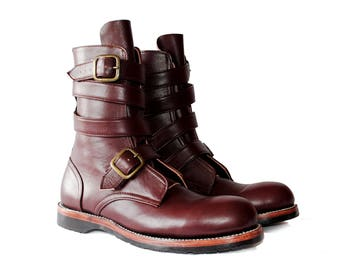 THOMPSON Smooth Oxblood Leather TANKER Boots. (All sizes)