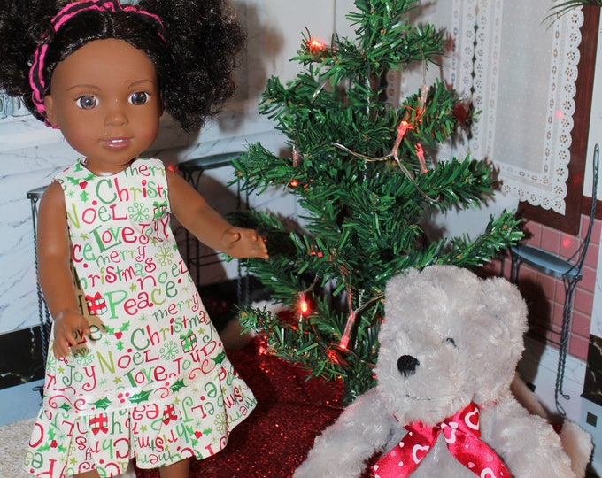 Noel Christmas Dress and matching Shoes, Handmade to fit 14.5 Dolls like Willie Wisher and Heart to Heart. FREE SHIPPING
