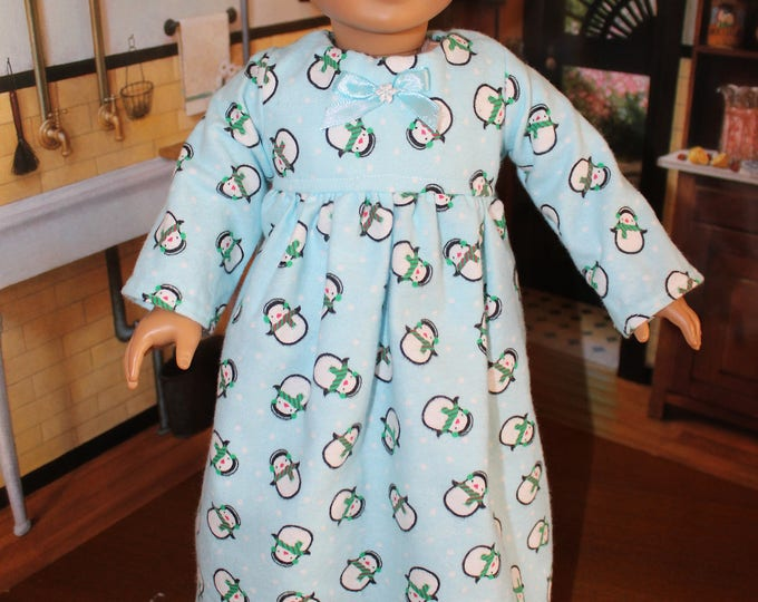Sleepwear, Snowman Print Nightgown with Lace and Matching Slippers, Handmade to fit 18 inch Dolls like the American girl, FREE SHIPPING