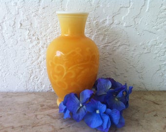 Vintage Art Glass, Made by Fostoria, Cased Glass, Orange Yellow Vase, Asian Style, Vines Chrysanthemums, Yellow Milk Glass, White Milk Glass