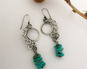 Sterling Modern Earrings With Genuine Arizona Kingman Turquoise Beads, Dangle Drop Earrings For Her, Cool Graduation Gift For Daughter.
