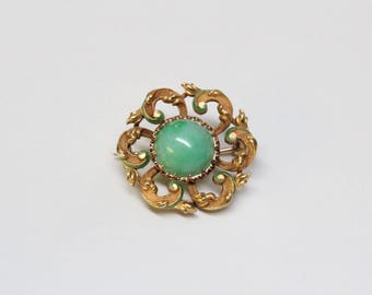 Victorian 14k Gold, Enamel, and Jade Brooch