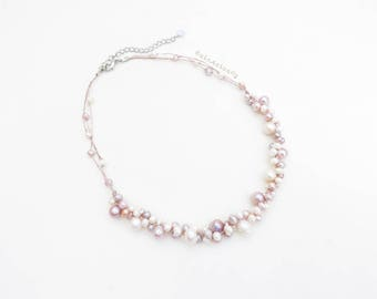 White pink peach freshwater pearl necklace on silk thread, short necklace