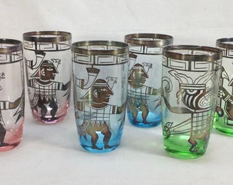 Vintage Aztec Drinking Water Glasses 1960's Man Holding Severed Head