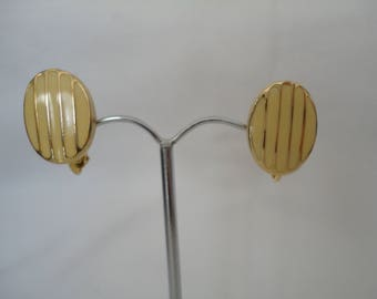Vintage Napier Goldtone & Yellow Enamel Earrings - 1980s - Comfort Screw Adjustable Clip On Earrings for Comfort - Fully Signed - NOS Unworn