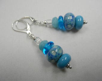 """Sterling Silver Leverback Beaded Earrings in Blue Lampwork Beads with Swarovski Crystals - 2"""" length"""