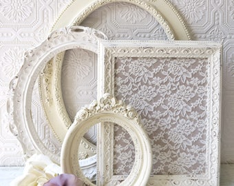 Empty Picture Frames Set Of 4 Antique White Shabby Chic Wall Decor