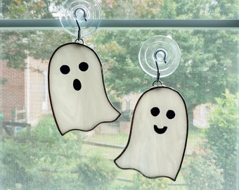Ghost Stained Glass Suncatcher, Set of Two, Halloween Decoration, Ghost Ornament, White Ghost, Halloween Ornament, Spooky, Fall Decor, Boo