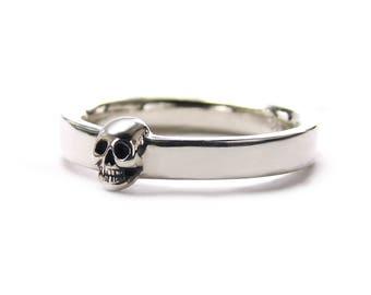 skull mens wedding ring dainty solid sterling goth groom ring psychobilly wedding band wedding set all - Mens Skull Wedding Rings