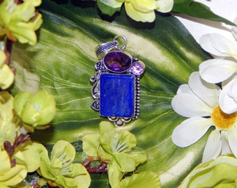 Amazing Celtic Selkie inspired vessel - Handcrafted Lapis Lazuli Amethyst pendant necklace